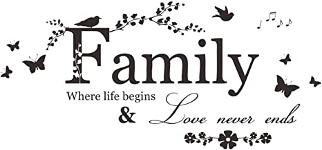 YINASI Family Letter Quote Removable Wall Stickers, Inspirational Vinyl Wall Decal Words Quote Wall Art Sticker Home Decor for Bedroom Living Room(Family Where Life Begins Love Never Ends)