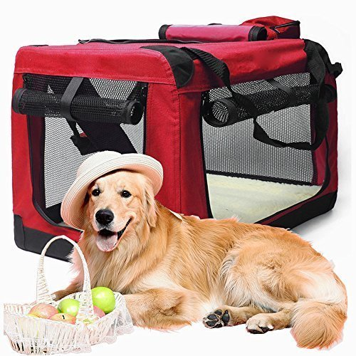 ペット キャリーバッグ 犬 折りたたみソフトケージキャリーバッグ 折りたためる 猫キャリーバッグ 犬キャリーバッグ 犬・猫 おでかけ ドライブ 通院 旅行 車 キャットランド MGC JAPAN TRADE (レッド)