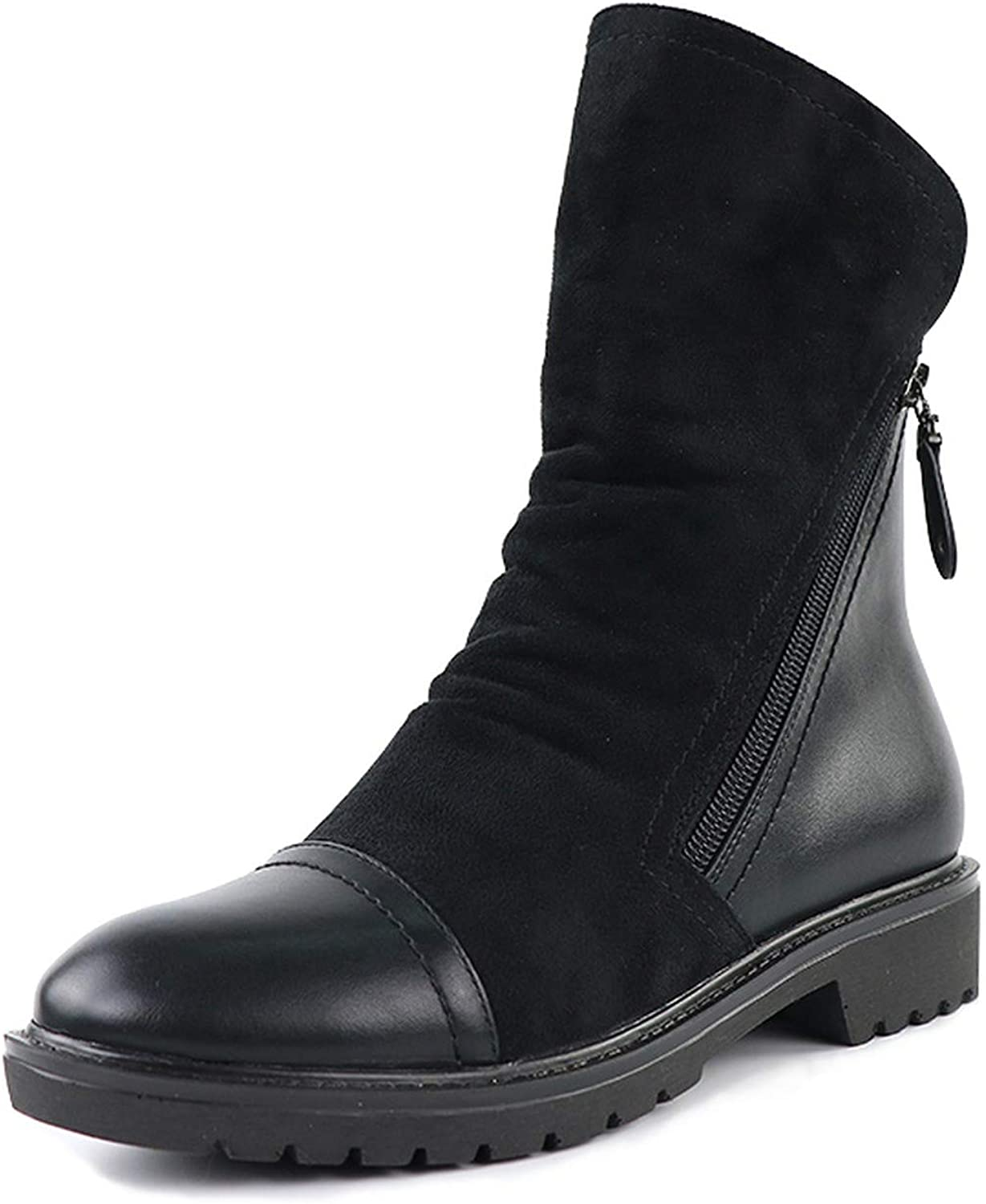 The memory is really bad Ankle Boot Suede Soft Leather Women Boots Double Zip Short Plush Boots Plus Size shoes,Black,8.5