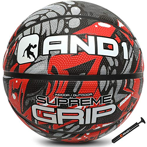 """AND1 Supreme Grip Rubber Basketball amp Pump Official Size 7 295"""" Streetball Made for Indoor and Outdoor Basketball Games Red/Grey"""