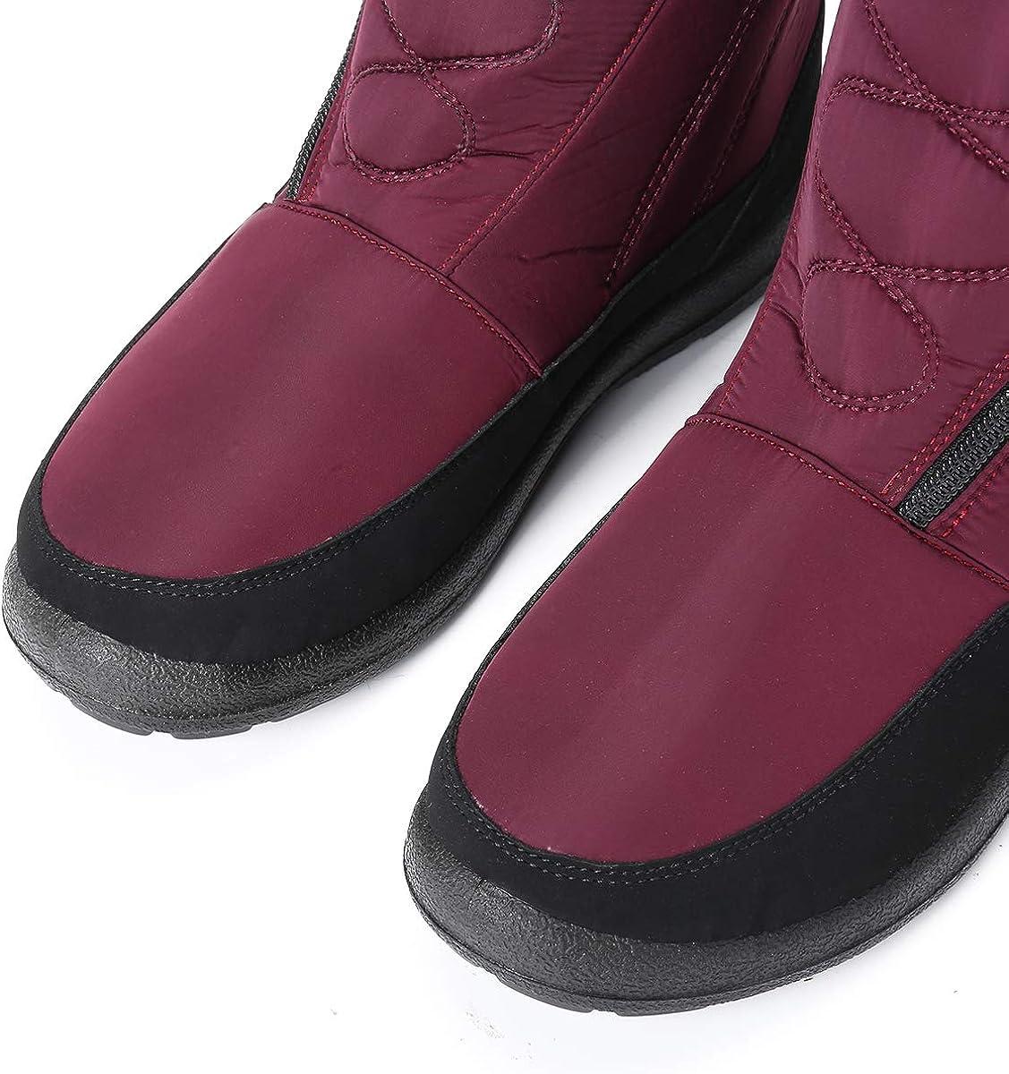 Camfosy Botas de Nieve para Mujer Zapatos de Invierno Botas de Lluvia de Piel Botas Impermeables Furty Rising Hot para Caminar Senderismo
