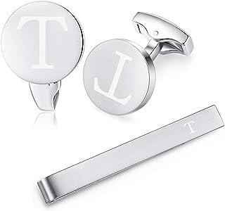 HONEY BEAR Initial Alphabet Letter Cufflinks Tie Clips Set for Mens Wedding Gift