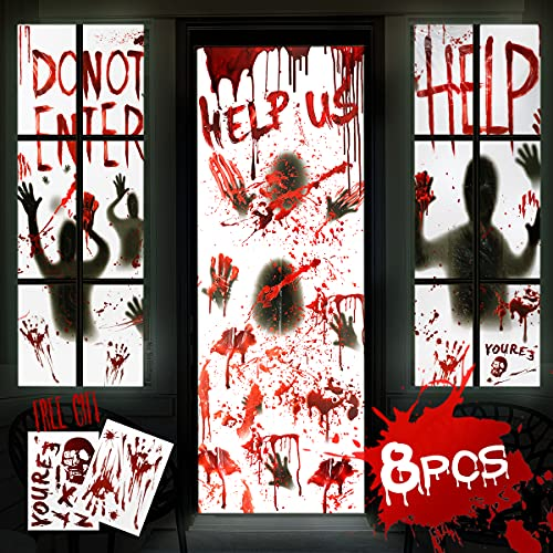 "8Pcs Halloween Door Cover Window Poster Decorations,4Pcs 60×30"" Window Posters &2Pcs 80×36"" Door Posters with 2 Pcs Bloody Scary Handprints Stickers, Indoor and Outdoor Halloween Décor for Party"