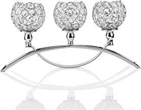 Anferstore 17 Inch Gold Crystal Candle Holders,Three Crystal Candlestick Wedding/Holiday/Plot People Gift Decoration (Silver)