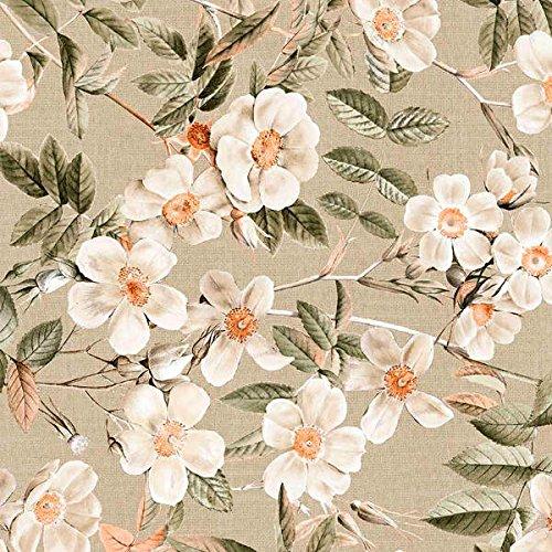 Tela por metros de loneta estampada (0,50 x 2,80 m) | Flores blanco, marrón