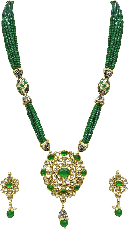 Babosa Sakhi Green Crystal Kundan Pendant Bollywood Style Long Jewellery Set