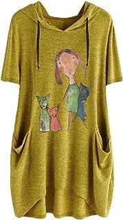 iNoDoZ Women's Print Short Sleeves Side Pocket Hooded Irregular Loose Casual Top Blouse Shirts