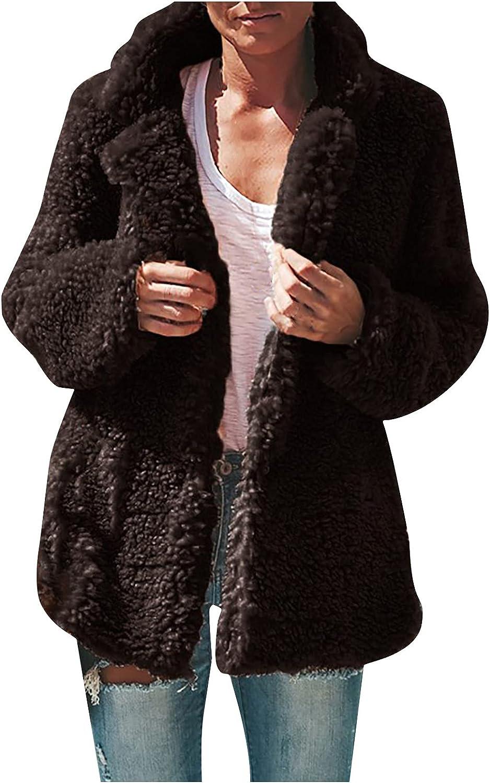 Muxing Women's Fuzzy Fleece Jacket Lapel Open Front Button Cardigan Coat Faux Fur Jacket Sweater