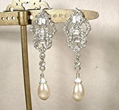 Art Deco Rhinestone & Ivory Simulated Pearl Long Dangle Earrings, Silver Bridal Drop Earrings, 1920s Flapper Jewelry Great Gatsby Wedding Vintage Inspired Bridesmaid Statement
