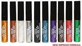 Diamond Glitter & Shimmer Style 10 Piece Liquid Eyeliner Eyeshadow Color Set + Microfiber Pouch Bag