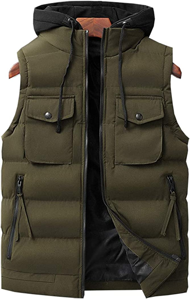 Hixiaohe Men's Casual Multi-Pockets Down Cotton Vest Removable Hood Padded Gilet