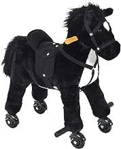 Qaba Kids Interactive Plush Mechanical Walking Ride On Horse Toy with Wheels, Black