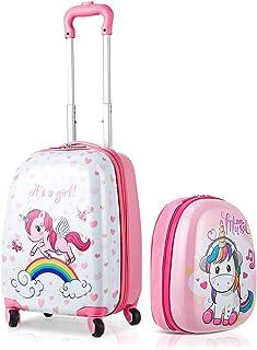 """Giantex 2Pc 12""""+16""""/18"""" Kids Carry On Luggage Set Travel Trolley Travel Suitcase Set (Unicorn)"""