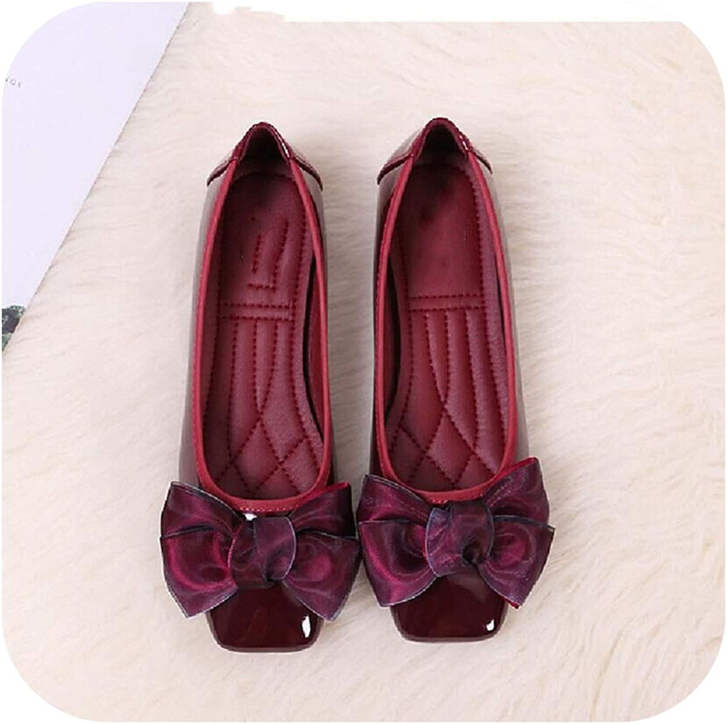Harajuku shoes Square Toe Flat shoes Women Mesh Butterfly-Knot Patent Leather Loafers Women Luxury shoes