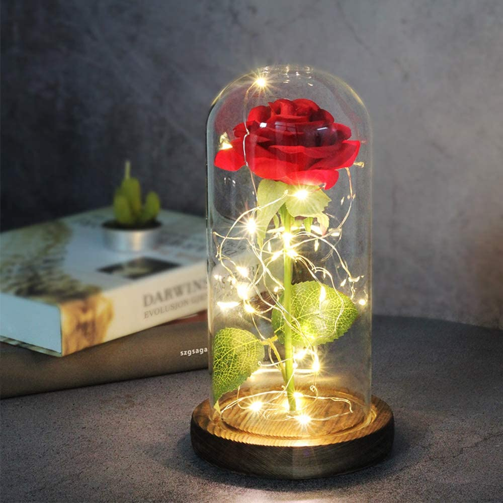 Beauty and The Beast Red Rose in Glass Dome on Wood Base, 20 LED Lights Forever Perfect Silk Rose and Girlfriend Rose Flowers Light for Valentines Day