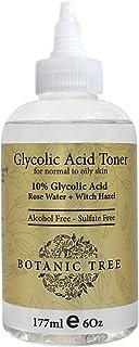 Botanic Tree 10% Glycolic Acid Toner for Face - Alcohol-Free AHA Exfoliating Toner with Rose Water, Witch Hazel, Aloe Vera...