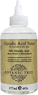 Botanic Tree 10% Glycolic Acid Toner for Face - Alcohol-Free AHA Exfoliating Toner with Rose Water, Witch H...