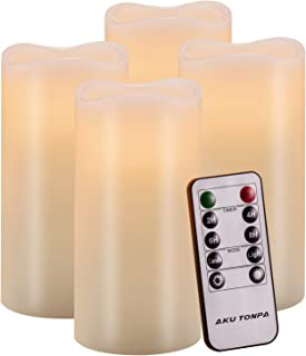 Aku Tonpa Flameless Candles Battery Operated Pillar Real Wax Flickering Electric LED Candle Gift Set with Remote Control Cycling 24 Hours Timer, Warm White Lights, 3