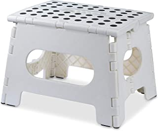 AG Folding Step Stool - The Lightweight Step Stool is Sturdy Enough to Support Adults and Safe Enough for Kids. Opens Easy with One Flip. Great for Kitchen, Bathroom, Bedroom, Kids or Adults. (White)