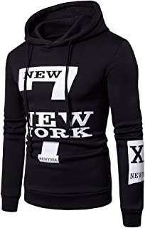Clearance Sale! ! Charberry Mens Letter New York Printed Long Sleeve Sweater Hoodie Hooded Sweatshirt Top Tee Outwear Blouse (US-M/CN-L, Black)