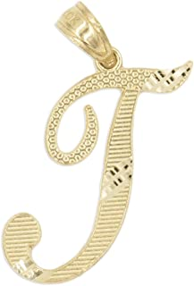 Ice on Fire Jewelry 10k Solid Real Gold Cursive Initial Pendant, English Alpahbet A-Z Letter Charm with Diamond Cut