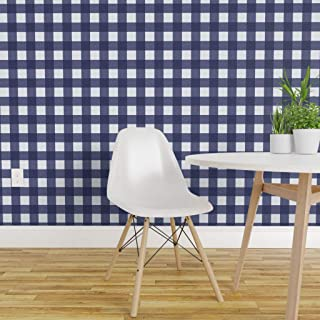 Spoonflower Pre-Pasted Removable Wallpaper, Buffalo Check Check Navy Navy and White Blue and White Blue Graphic Print, Water-Activated Wallpaper, 24in x 36in Roll