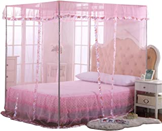 JQWUPUP Mosquito Net for Bed - 4 Corner Canopy for Beds, Canopy Bed Curtains, Bed Canopy for Girls Kids Toddlers Crib, Bedroom Decor (Twin Size, Pink)