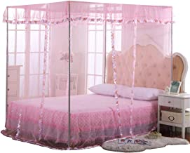JQWUPUP Mosquito Net for Bed - 4 Corner Canopy for Beds, Canopy Bed Curtains, Bed Canopy for Girls Kids Toddlers Crib, Bedroom Decor (Full Size, Pink)