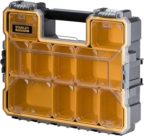 Stanley 1-97-518 Rangement Organiseurs et Casiers Gamme Fatmax - etanche - Polycarbonate Incassable - 10 Compartiment...