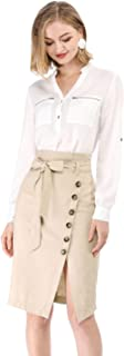 Women's Asymmetrical Button Decor Front Split Belted Vintage Midi Pencil Skirt