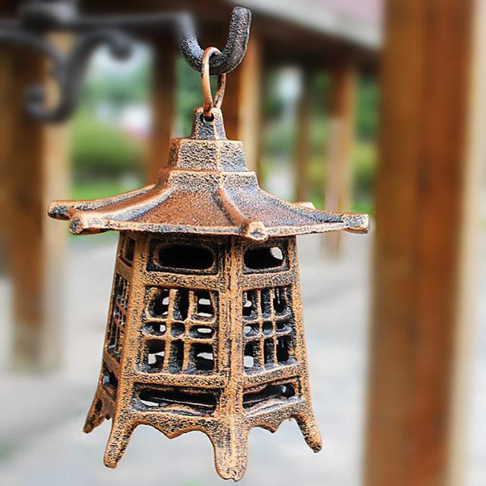 zenggp Vintage Hierro Fundido Pagoda Japonesa Colgante Oriental Linterna De Jardín Portavelas Interior/Exterior,A: Amazon.es: Hogar