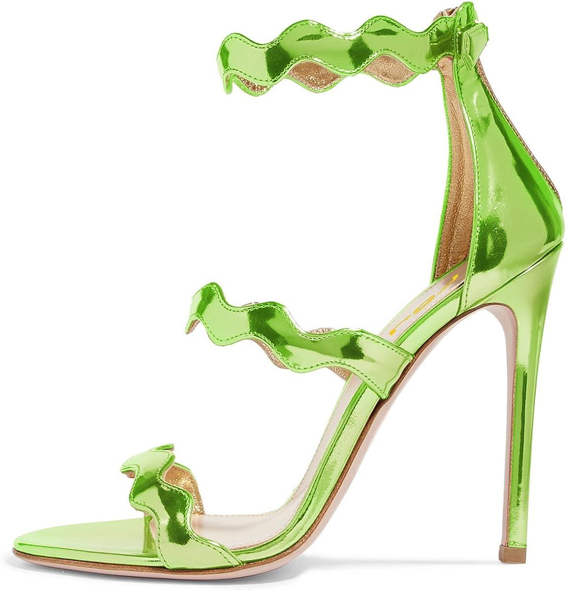 FSJ Women Hot Open Toe Strappy Heeled Sandals Suede Dress Shoe for Party Size 4-15 US