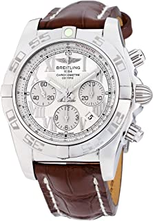 Breitling Chronomat 44 Silver Dial Leather Strap Men's Watch AB011012/A690/739P