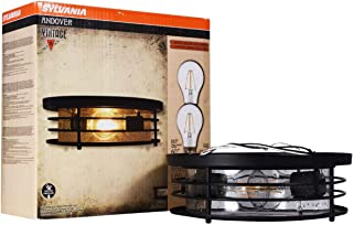 SYLVANIA General Lighting Sylvania California Compliant 60126 Andover Drum Light, LED, Flush Mount, Dimmable Bulb Included Vintage Fixture, Antique Black