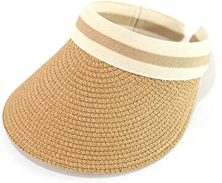 IWNTWY Kids Summer Straw Hat Large Wide Brim Sun Protection Beach Cap Adjustable Hats for Boy Girls