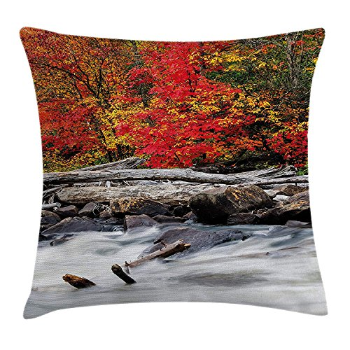 JIMSTRES Driftwood Decor Throw Pillow Cushion Cover, A Raft of Driftwood Lies by a Rushing Rocky Stream Autumn Forest Digital Image, Decorative Square Accent Pillow Case, Red 18x18 inches