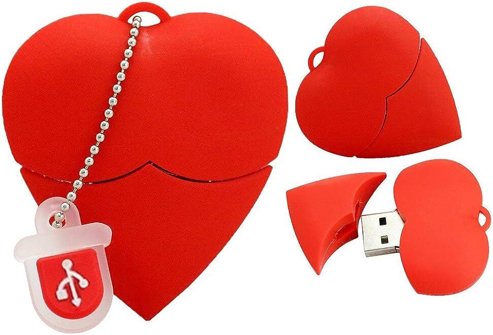 Civetman,chiavetta usb 2.0 da 32 gb,a forma di cuore,in silicone,per il regalo di san valentino Silicone USB