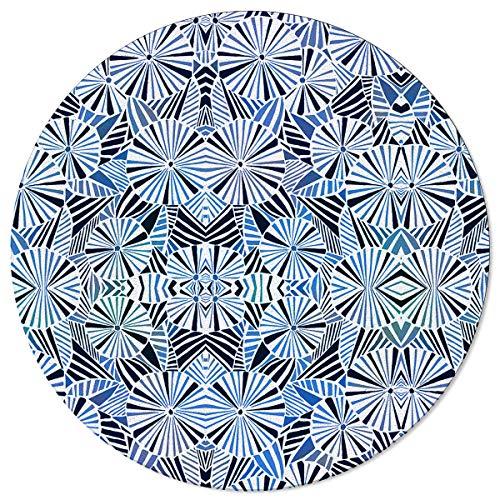 SunnyM Alfombras redondas de 1,2 m, paraguas Grométrico suave para interiores/sala de estar/dormitorio/sala de juegos infantiles/alfombrillas de cocina antideslizantes para yoga, color azul