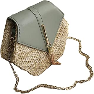 COODIO Women PU Hexagonal Straw Weaving Single Shoulder Chain Fringes Square Cross-Body Bag for Fashion Jewelry