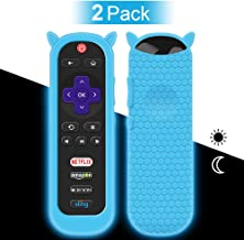 2 Pack Protective Case for TCL Roku TV RC280 Remote, Silicone Cover Shock Proof Remote Controller Skin, Cute Cat Ear Shape Anti Slip Universal Replacement Sleeve Protector(Glow Blue)