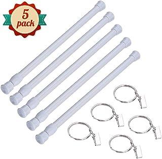 5pcs Constant Tension Barra, Tensión de Muelle Varilla de Cortina para Cortina de Ducha Extensible Ajustable para baño Estantería de armario de ventana Blanco 30-50cm