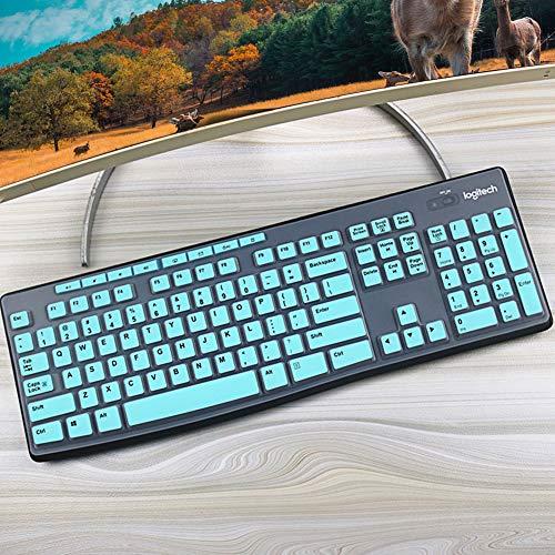 Lapogy Keyboard Cover Skin for Logitech K200 MK200 K260 MK260 K270 MK270 MK275 MK295,Logitech Keyboard Accessories, Ultra Thin Silicone Keyboard Protector Skin,Mint