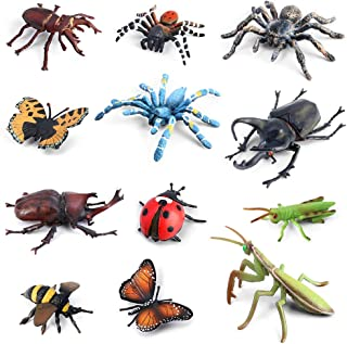 Bug Toys Figurines VOLNAU 12PCS Insect Toys Figures for Kids Toddlers Educational Bee Beetle Mantis Spider Ladybug Butterfly Plastic Model, BPA Free
