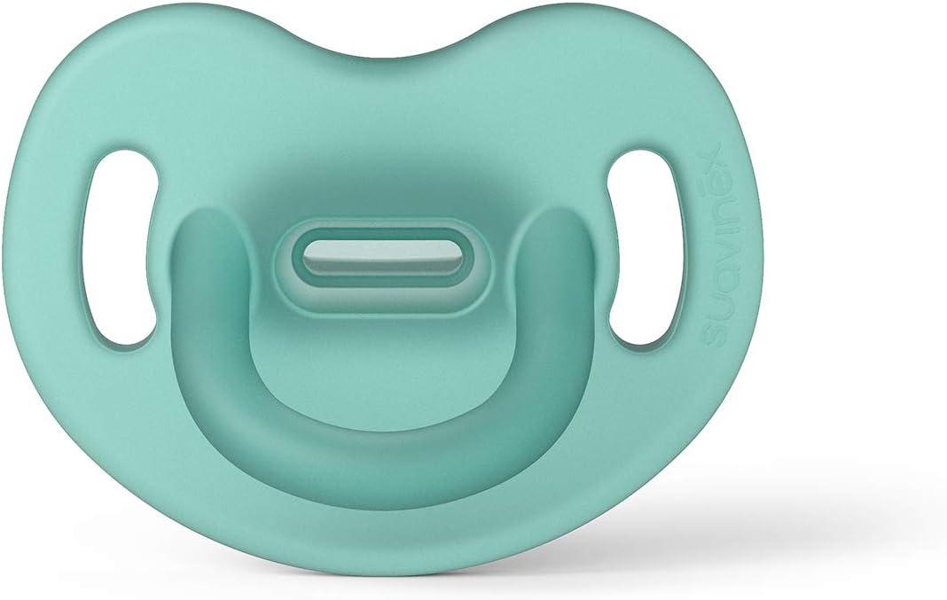 Suavinex Chupete para Dormir Todo Silicona, Para Bebés 6/18 meses, Chupete con Tetina Anatómica SX Pro, Super Blandito y Flexible, Color Verde