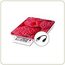 LITTLE BALANCE 8446 Slide 6 Framboises USB Balance de cuisine, Verre trempé, 6 kilograms