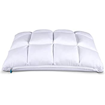 Leesa Luxury Hybrid Reversible Cooling Foam/Quilted Pillow for Sleeping, Queen, White