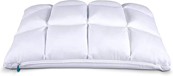 Leesa Luxury Hybrid Reversible Cooling Foam Quilted Pillow For Sleeping Standard White
