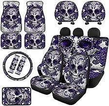 XYZCANDO Purple Sugar Skull Car Seat Cover Set with Automotive Floor Mats,Shoulder Strap Pads,Auto Center Console Cover,15