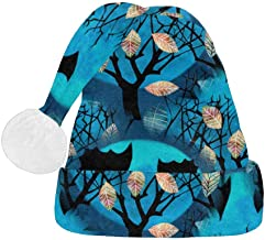 INTERESTPRINT Halloween Night Dark Branches of Trees Santa Claus Hat, Christmas Party Supplies Hat for Adults