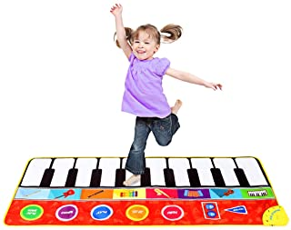 """M SANMERSEN Piano Mat for Kids, 57.4"""" Musical Dance Mat with 8 Instruments Sound / Adjustable Volume Keyboard Play Mat Col..."""
